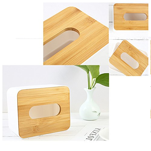 Office Car Esdella Natural Bamboo Tissue Holder Tissue Dispenser-Mobile Phone Holder Phone Stand Rectangular Tissue Box For Home