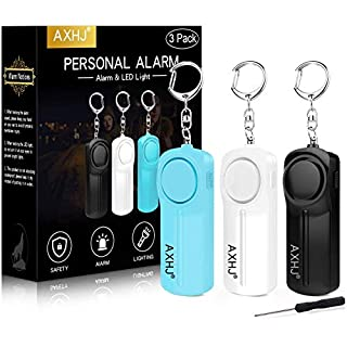 AXHJ Personal Alarm Keychain Safe Sound, 3 Pack 130dB Emergency Alarm Siren Song Keychain with LED Light, SOS Safety Alarm Self Defense for Women, Children, Elderly, Joggers (Black, White, Blue)
