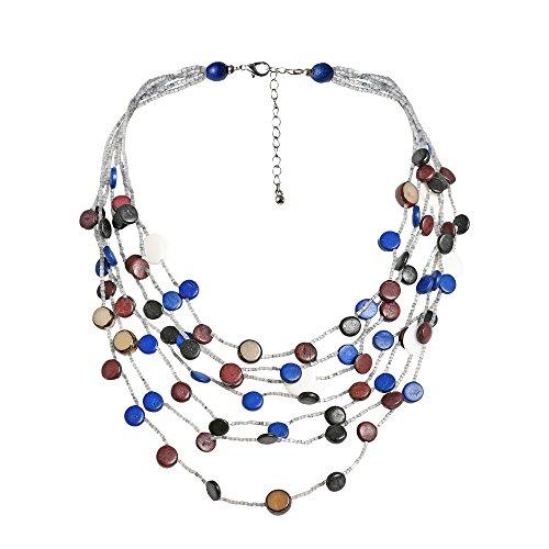 (AeraVida Blue Coco Palm Wood Shell Circle Layered Cascade Necklace )