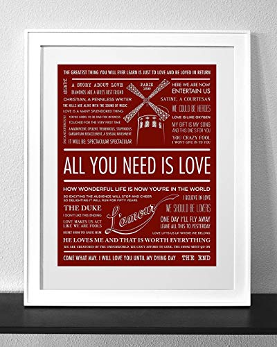 - MOULIN ROUGE Typography & Quote Art Print (Frame not included)