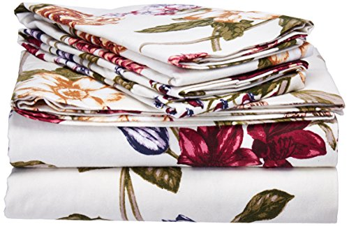 Tribeca Living 200-GSM Blossoms Printed Deep Pocket Flannel Sheet Set, California King