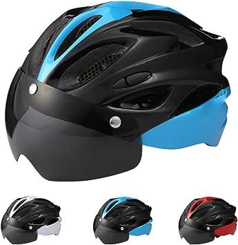 Casco Bicicleta Adulto,CE Certified-Súper Ligero Casco Bicicleta Montaña con Gafas Desmontables,Casco Ciclismo para Hombres Mujeres Casco Bici BMX,Cómodo y Transpirable Forro Extraíble,Azul: Amazon.es: Deportes y aire libre