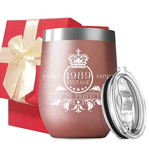 Best Festival Gifts | 1989 30th Birthday | Vintage Anniversary Gift Ideas for Mom Dad Husband Wife | 12 oz Stainless Steel Vacuum Insulated Wine Glass Tumbler with Sliding Lid Beautiful Gift Box