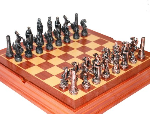 Middle Age Dragon Chess Set. Pewter Pieces