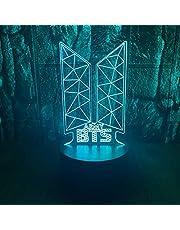 Kpop BTS Bangtan pojkar 3D LED optisk illusion sovrum dekoration bordslampa med fjärrkontroll 7 färgbyte dimbar akryl födelsedagspresent