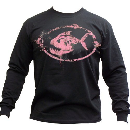 """Grunge Fish Oval"" in Pink Long Sleeve T-Shirt - Black, Medium"