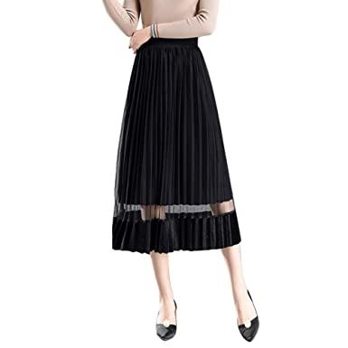 c692dff5e Chic Queen Women's Elastic Waist Velvet Pleuche Swing Accordion Pleated  T-Length Skirt(S