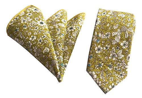Men's Lemon Yellow Floral Ties Pocket Square Set Narrow Necktie Cotton Ties Print Casual Neck Tie
