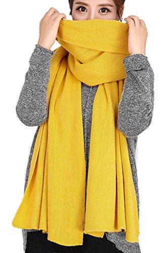Long Extra Scarf - Wander Agio Women's Warm Long Shawl Winter Warm Large Scarf Pure Yellow 1
