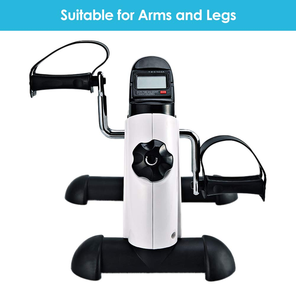 Synteam Portable Handle Pedal Exerciser Arms Legs Mini Exercise Bike with Electronic Display(LWB03,White) by Synteam (Image #3)