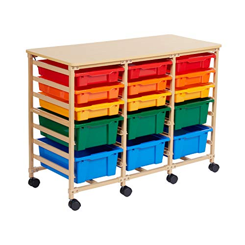 ECR4Kids 15-Tray Mobile Storage Organizer, Sand with Assorted Colors