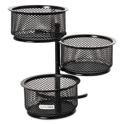 - 3 Tier Wire Mesh Swivel Tower Paper Clip Holder, 3 3/4 x 6 1/2 x 6, Black