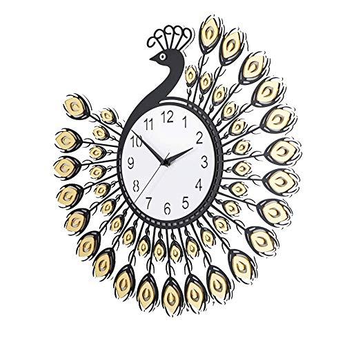 Watch Sizes Crystal Pocket - Vinteen Peacock Wall Clock Creative European Style Clock Living Room Mute Fashion Quartz Clock Modern Simple Pocket Watch Crystal Timepiece (Color : A- Auspicious Wishful, Size : 58CM)