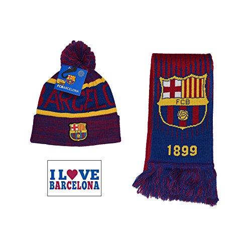 (Fc Barcelona Set Beanie Pom Skull Cap Hat and Scarf Reversible (Blue Maroon))