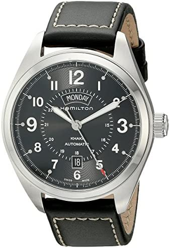 Hamilton Men s H70505733 Khaki Field Analog Display Automatic Self Wind Black Watch