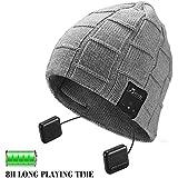 Wireless 4.1 Superior Headphone Beanie Hat HD Stereo Earphone Speaker Built-in Mic,Unisex Washable Men Women Winter Outdoor Fitness -Grey