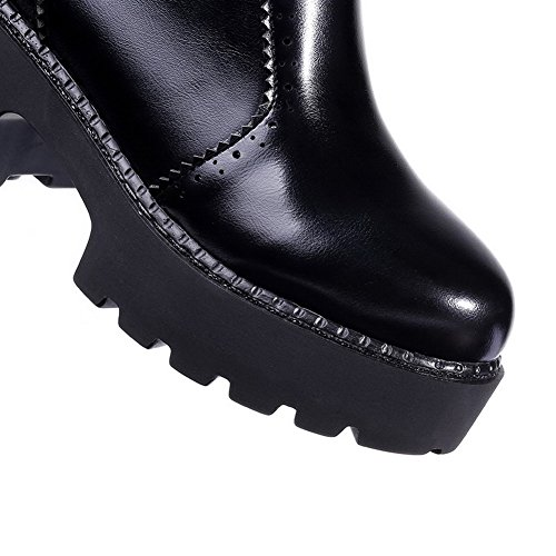 AllhqFashion Mujeres Puntera Cerrada Redonda Tacón ancho Caña Baja Sólido Botas con Metal Negro