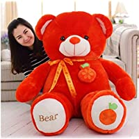 Sellebrations Premium Quality Huggable Teddy Bear with Neck Ribbion - Orange Fruit (03 Feet) Red