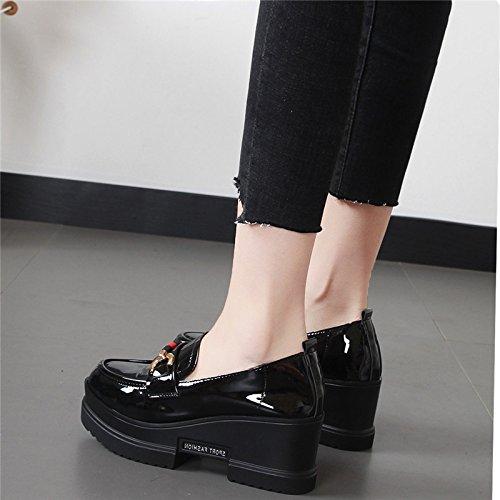 GTVERNH Damenschuhe Mode Mode Mode Biskuitteig Schuhe Im Frühjahr und Herbst Steigung Schuhe 7Cm High Heels Dicke Hintern Freizeit Studenten - Schuhe. 83a7ac