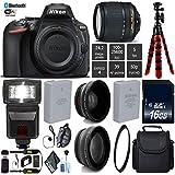 Nikon D5600 DSLR Wi-FI NFC 24.2MP DX CMOS Camera AF-S 18-140mm VR Lens + Digital Slave SLR Flash + UV Protection Lens Filter + 12 inch Flexible Tripod + Camera Case - International Version