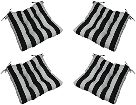 Set of 4 – Indoor Outdoor Black and White Stripe Universal Tufted Seat Cushions with Ties for Dining Patio Chairs – Choose Size 18 x 18