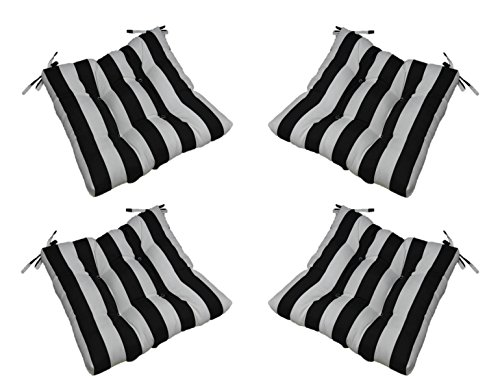 Cheap Set of 4 – Indoor / Outdoor Black and White Stripe Universal Tufted Seat Cushions with Ties for Dining Patio Chairs – Choose Size (20″ x 19″)