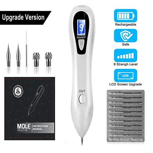 (Portable Dark Spot Removal Professional Tattoo Removel Tool for Skin Tag Freckles Dark Spot Skin Pigmentation with Replaceable Needles, Adjustable 9-Levels (10x Fine Replacement Needles))