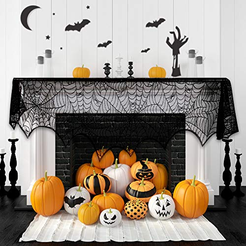 Halloween Fireplace Decoration Festive Party Supplies Lace Spiderweb Fireplace Mantle Scarf Cover Black Cobweb Fireplace Scarf Indoor Halloween Door Table Porch Decor 35x95 inch]()