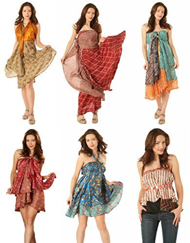 (AK-Trading Long Length Indian Reversible Vintage 2-Layers Silk Sari Magic Wrap Skirt)