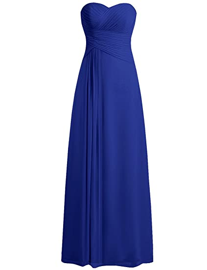 HUINI Strapless Long Chiffon Bridesmaid Prom Dresses Wedding Evening Party Gowns Royal Blue UK24