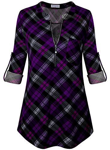 (Bulotus Women's 3/4 Sleeve V-Neck Casual Plaid Tunic Shirt (XX-Large, Plaid Black Purple))