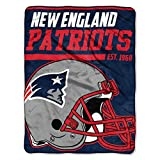 The Northwest Company 1 Pc, New England Patriots Blanket 46x60 Micro Raschel 40 Yard Dash Design Rolled, Acrylic & Polyester, Extra Warm & Superior Durability, Easy Care, Machine Washable & Dryable