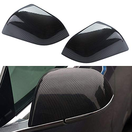 ROCCS Tesla Model 3 Side Mirror Cover, ABS Plastic Cover Carbon Fiber Outside Mirrors Cap Replacement, Pack of Two