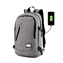 Business Laptop Backpack, DailyStar 15.6 Inch College Backpacks with USB Charging Port, Anti-theft Lightweight Travel Bag for Men & Women (Grey)