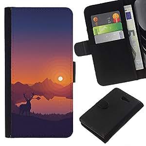 JackGot ( Estimado Sunset ) Sony Xperia M2 la tarjeta de Crédito Slots PU Funda de cuero Monedero caso cubierta de piel