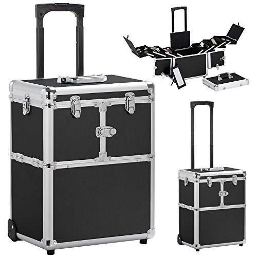 Yaheetech Pro Aluminum Rolling Makeup Case Salon Cosmetic Box Organizer Trolley Beauty Train Case,Black