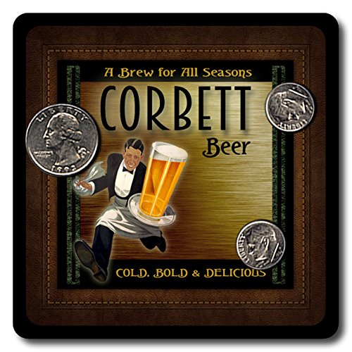 Corbett Family Name Beer and Ale Rubber Drink Coasters - 4 Pack