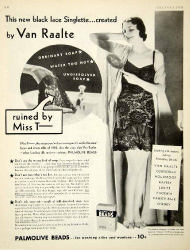 1932 Ad Palmolive Bead Soap Laundry Detergent Van Raalte Black Silk Lace Woman - Original Print (Vans Lace Designs)