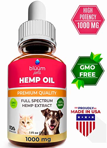 - Hemp Oil for Dogs and Cats - 1000 MG - Anxiety & Stress Relief for Dogs and Cats - 100% Organic Pet Hemp Oil - Supports Hip and Joint Health - Natural Remedy for Pain & Calming - Pets Omega 3, 6, 9