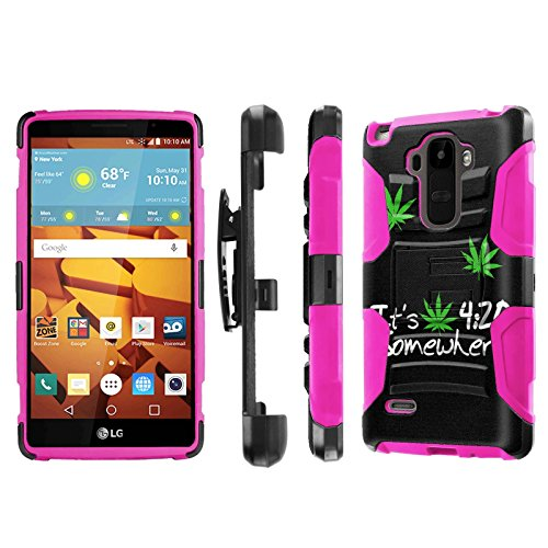 LG G Stylo [LS770 H631] Armor Case [NakedShield] [Black/Pink] Heavy Duty Armor [Holster with Kickstand] Phone Case - [420] for LG G Stylo LS770 -  P-LGLS770-1E7-BKHP-CBT-N077