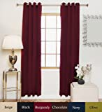 Blackout Curtain Burgundy Antique Brass Grommet Top Thermal Insulated 120 Inch Length Pair