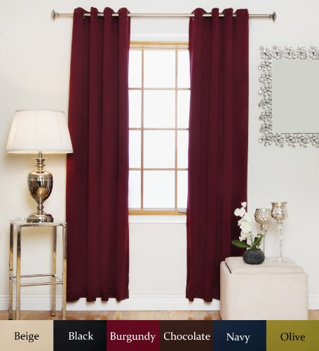 Burgundy Antique Brass Grommet Top Thermal Insulated Blackout Curtain 108 Inch Length Pair