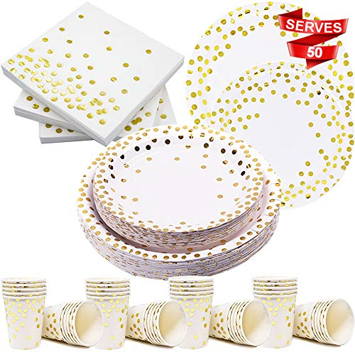 Modda 200Pcs Gold Dot Disposable Paper Plates, Cups, Napkins Set - 50 Dinner and Dessert Plate, 50 Cup and Napkin for Engagement Wedding Birthday Bridal Baby Shower Party, Gold Paper Plates Sets Bridal Shower Party Dessert Paper