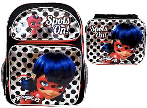 Nickelodeon Miraculous Ladybug 16 inch Backpack and Lunch Box Set - Spot On