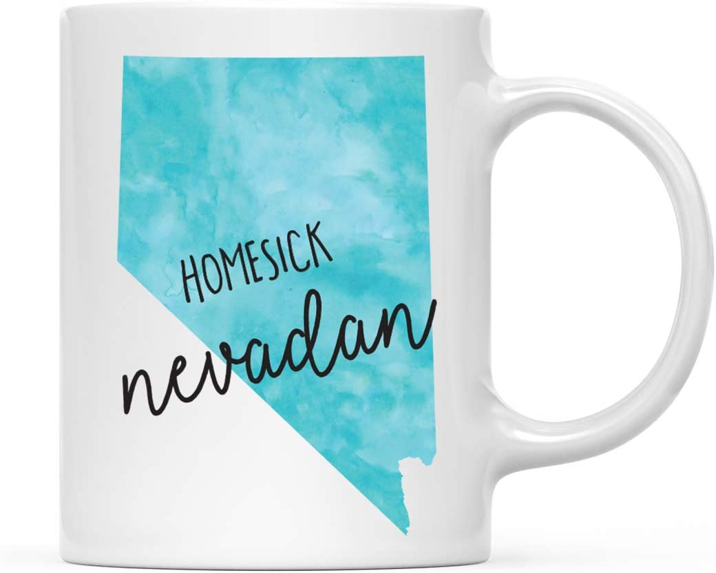 Andaz Press US State 11oz. Coffee Mug Gift, Black Watercolor, Homesick Nevadan, Nevada, 1-Pack