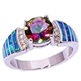 CiNily Blue Fire Opal Mystic Topaz Zircon Rhodium Plated Women Jewelry Gemstone Ring Size 5-11