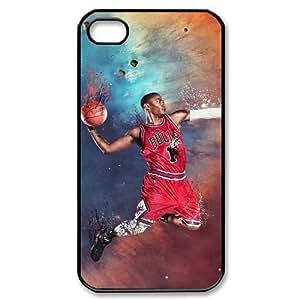 wugdiy Custom Hard Plastic Back Case Cover for iPhone 4,4S with Unique Design Derrick Rose