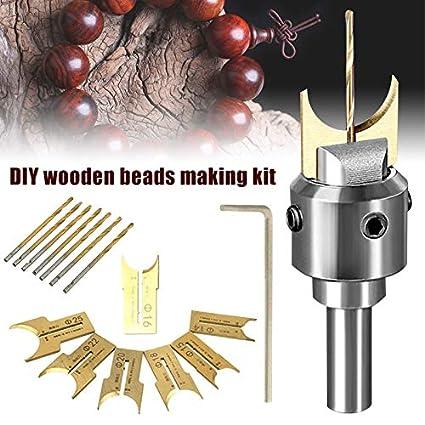 Juego de 26 brocas de madera para hacer cuentas de madera decoraci/ón del hogar y m/ás bolas de bolas para dise/ñar tus propias joyas juego de herramientas de carpinter/ía manualidades