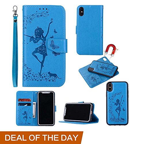 For Apple iPhone X Wallet Phone Case-Welegant Emboss Girl Butterfly Kickstand Wallet Detachable Magnetic Slim Skin Back Cover with Card Slots Cash Pocket Wrist Strap for iPhone 10(For iPhone X, Blue) Review