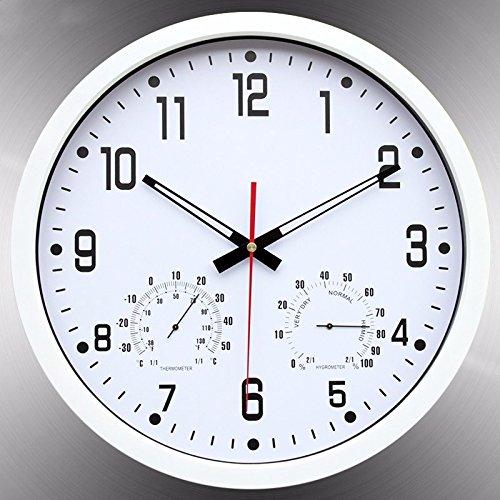 温度計と湿度計付きオフィス用寝室用リビングルーム用壁掛け時計、シルバー B07DWW8DDZ 銀 銀
